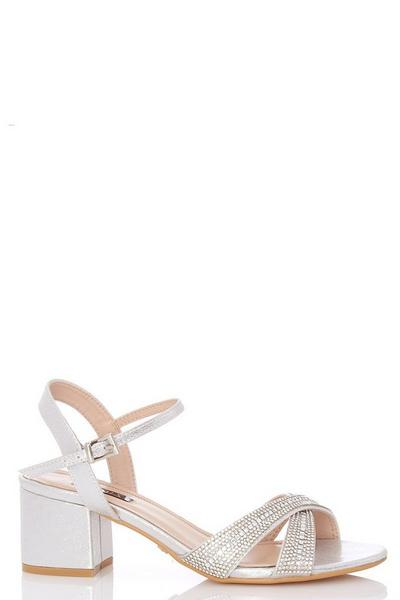 Silver Shimmer Cross Strap Sandals