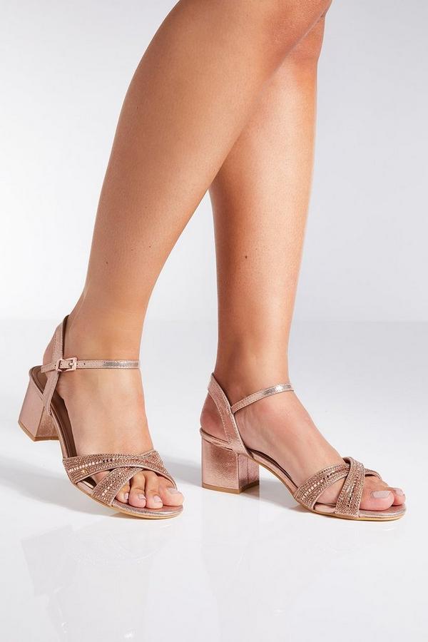 Rose Gold Shimmer Cross Strap Sandals
