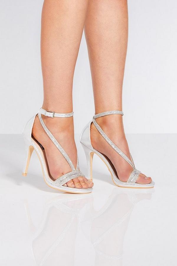 Silver Shimmer Diamante Heels