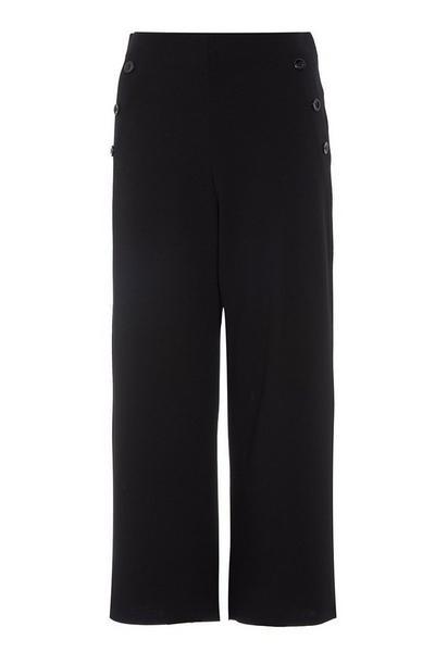 Black Wide Leg Culotte Trousers
