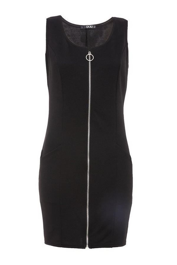 Black Zip Front Dress
