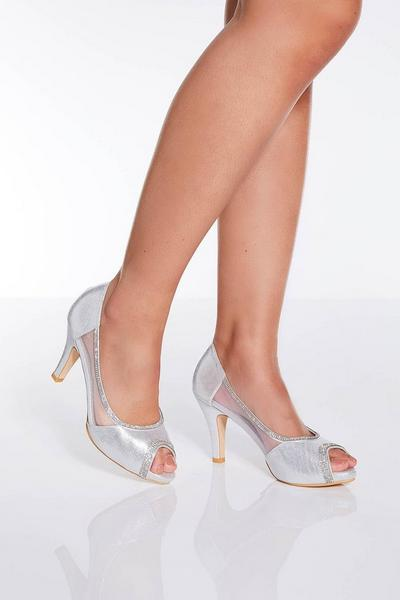 Silver Shimmer Peep Toe Low Heel Courts