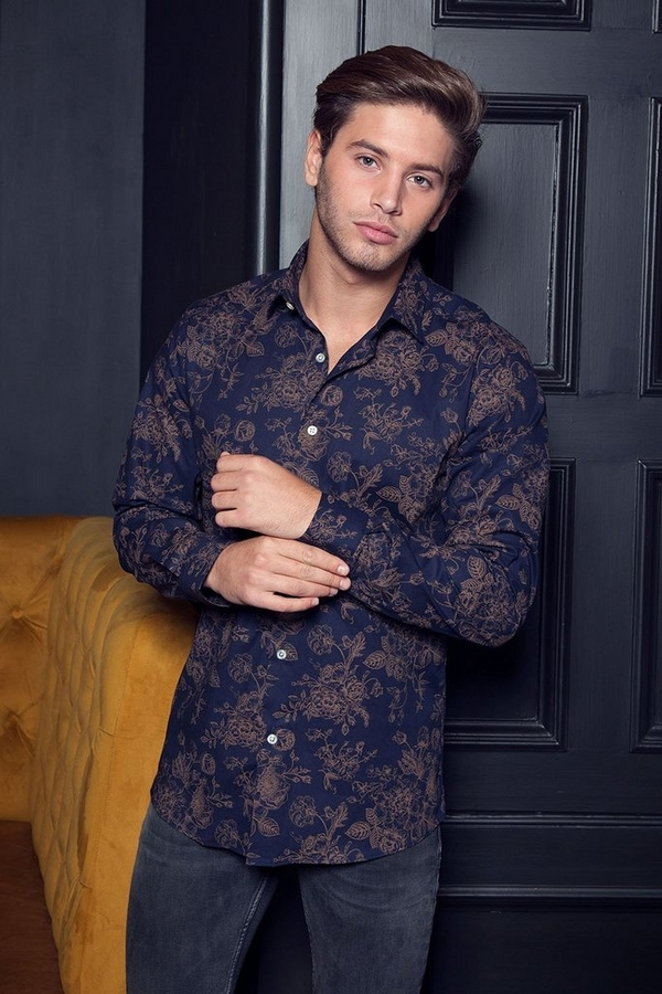 Navy And Gold Long Sleeve Floral Shirt