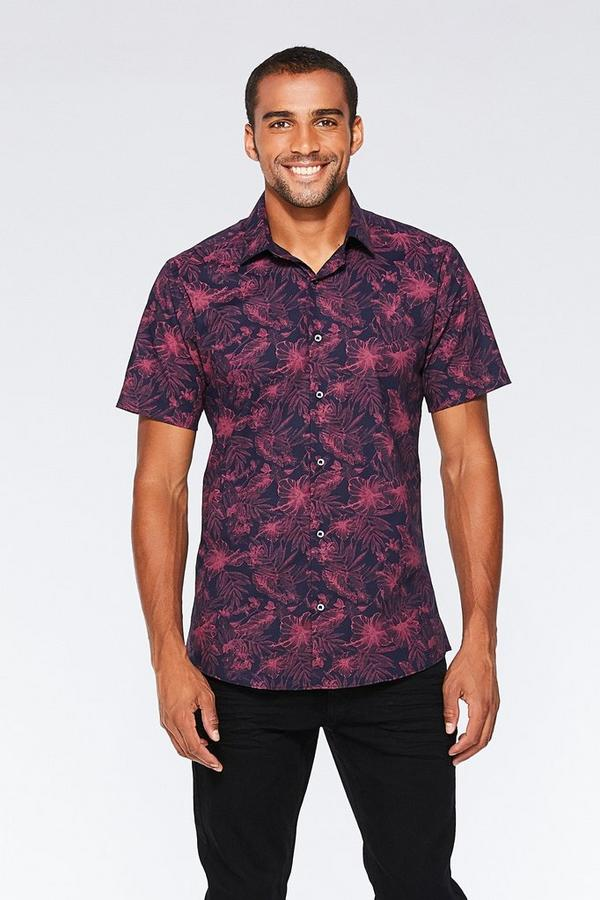 Navy And Pink Flower Print Short Sleeve Shirt