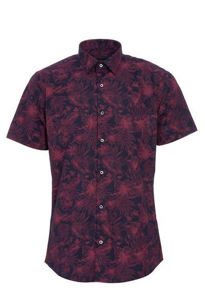 Navy And Pink Flower Print Short Sleeve Shirt