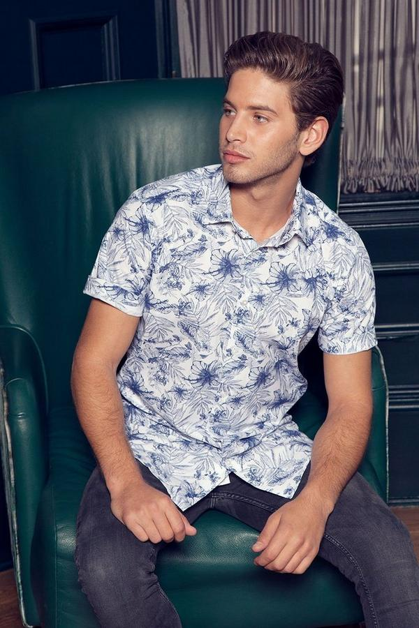 Navy And White Short Sleeve Floral Shirt