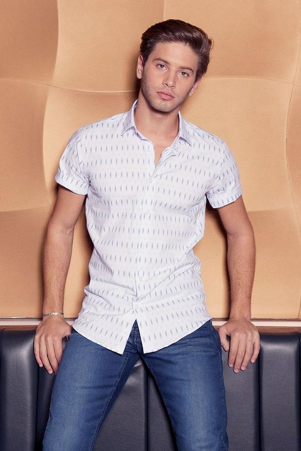 White & Navy Short Sleeve Geometric Shirt