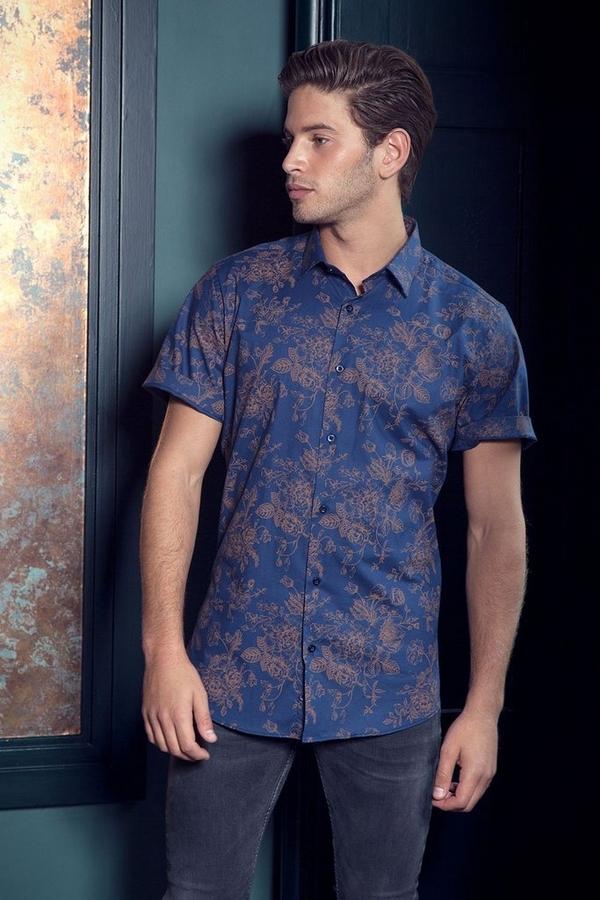 Royal Blue And Gold Floral Short Sleeve Shirt