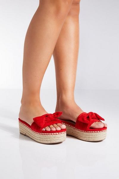 Red Bow Flatform Sandals