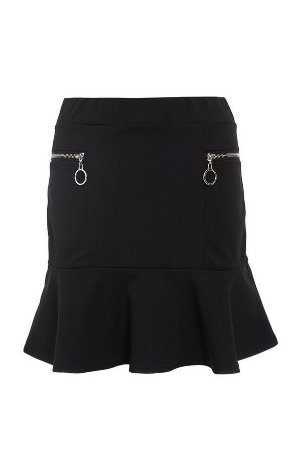 Black Frill Zip Skirt