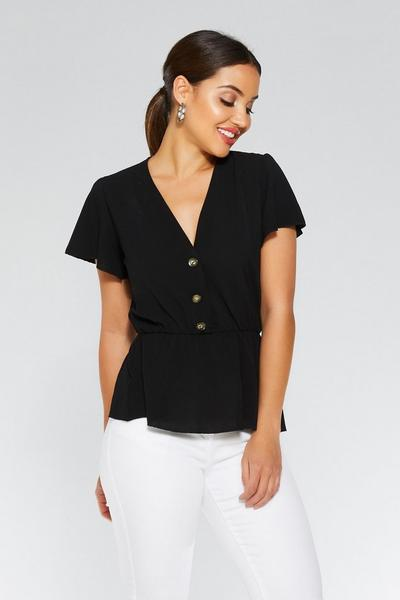 Black Button Peplum Top