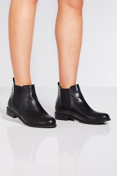 Black Diamante Rim Chelsea Ankle Boots