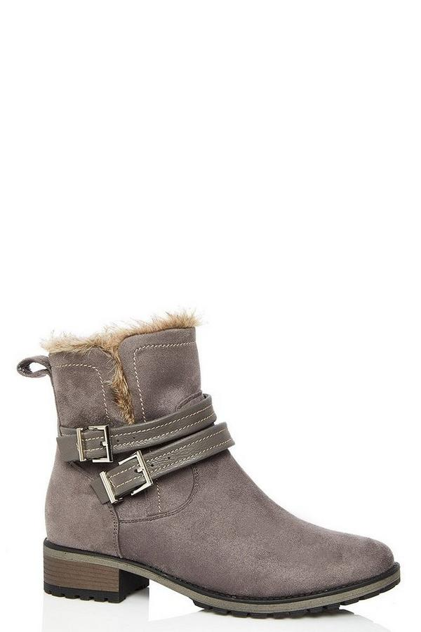 Grey Double Buckle Ankle Boots