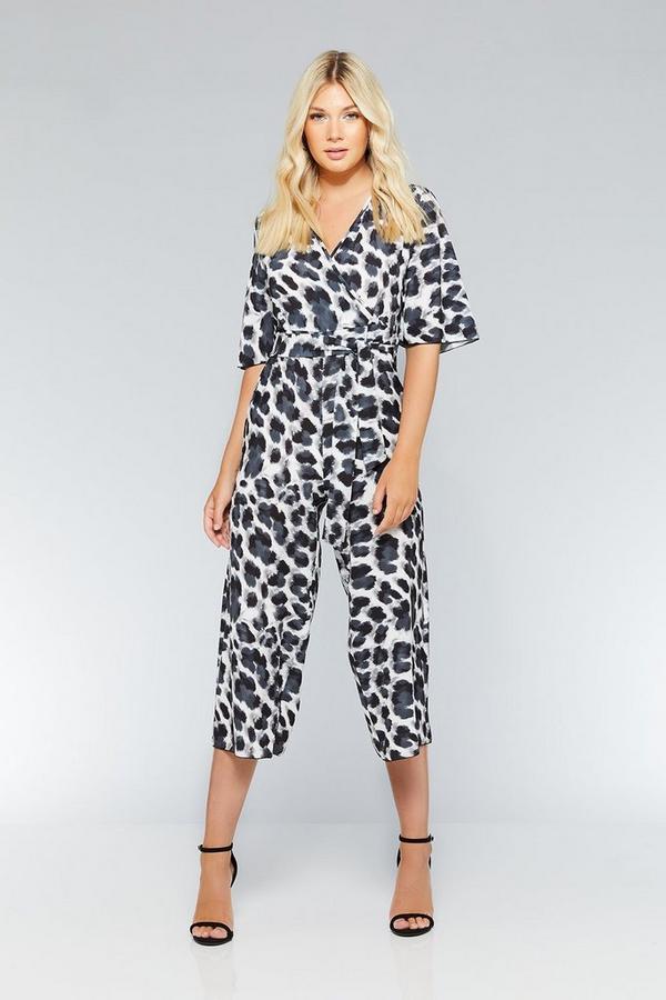 Black And Grey Leopard Print Wrap Jumpsuit