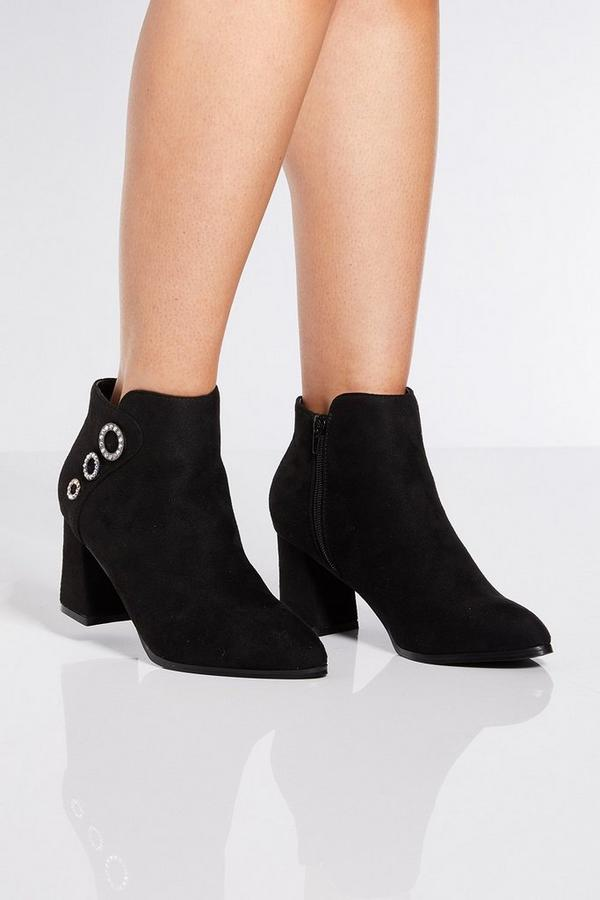 Black Triple Circle Block Heel Ankle Boots
