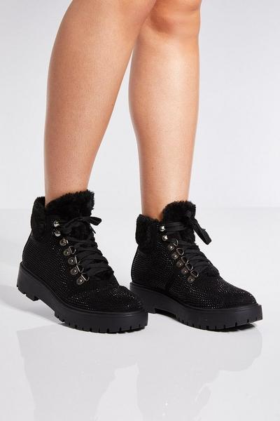 Black Embellished Faux Fur Trim Ankle Boots