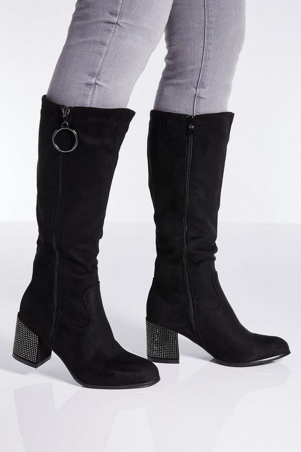 Black Faux Suede Zip Detail Calf Boots
