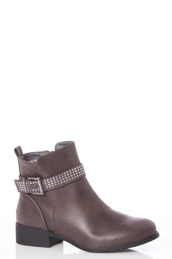 Grey Diamante Strap Ankle Boots