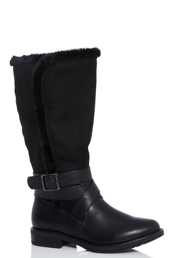 Black Faux Fur Trim Calf Boots