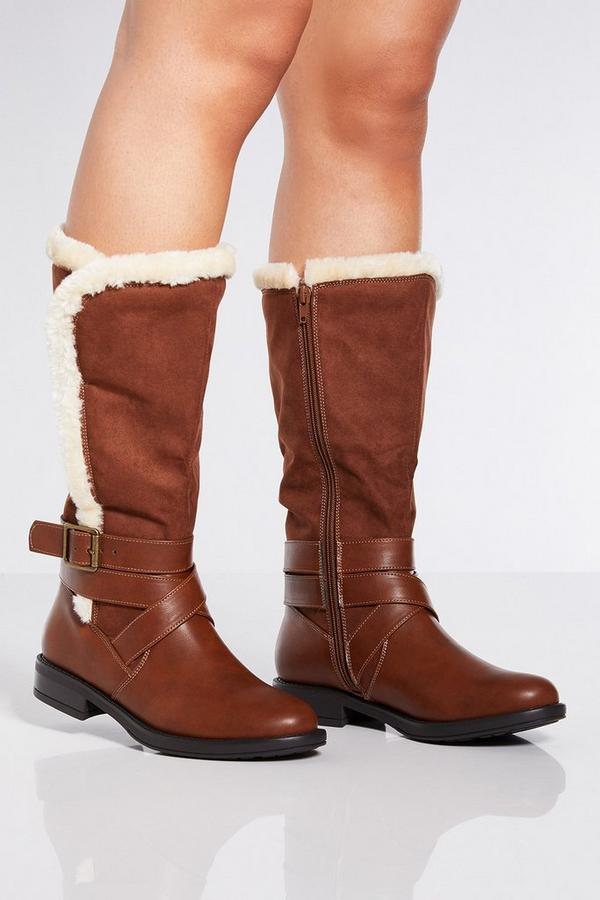 Tan Faux Fur Trim Buckle Calf Boots