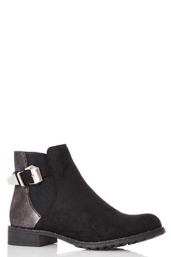 Black Shimmer Back Ankle Boots