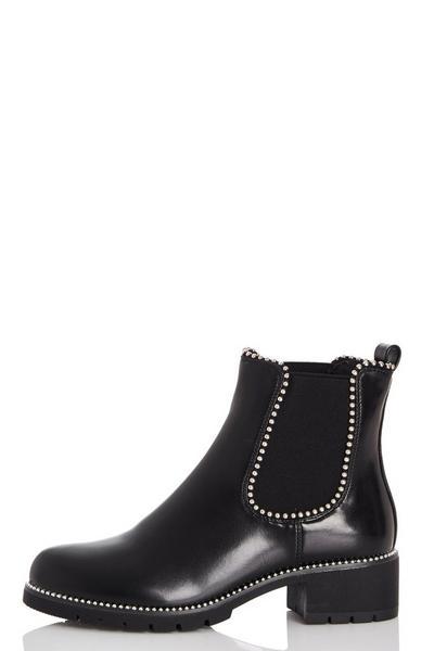 Black Stud Trim Ankle Boots
