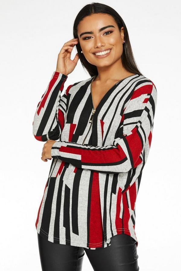 Red Grey And Black Zip Stripe Top