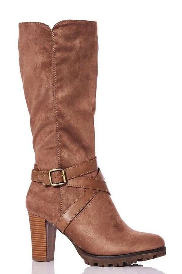 Taupe Faux Suede Strap Calf Boots