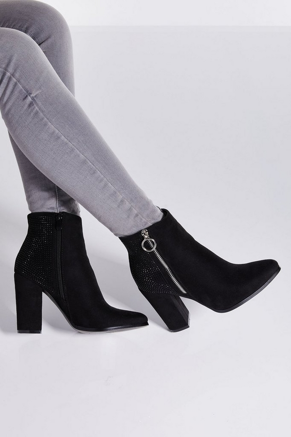 Black Diamante Back Block Heel Ankle Boots