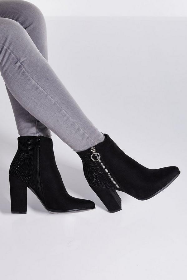 Black Diamante Back Block Heel Ankle Boots