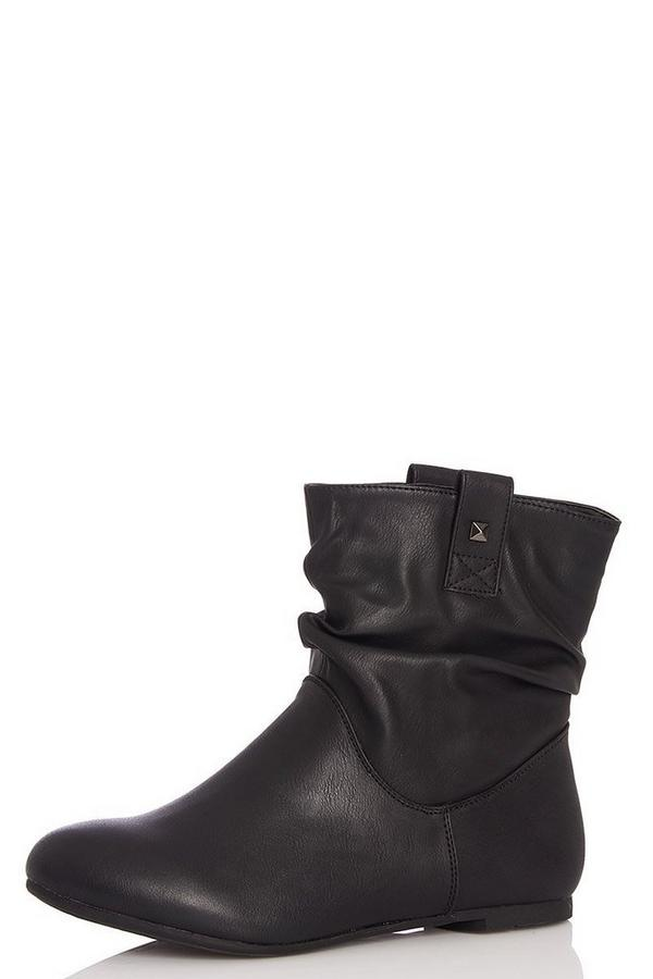 Black Ruched Ankle Boots