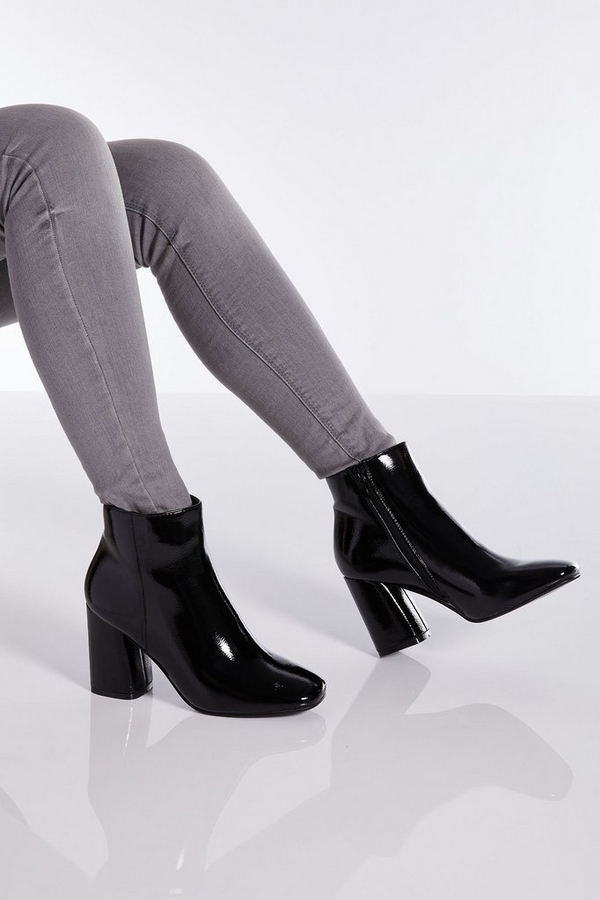 Black Patent Block Heel Ankle Boot