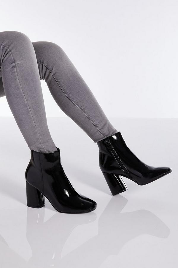 Black Patent Block Heel Ankle Boot