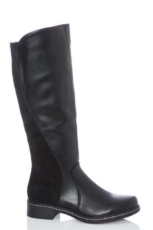 Black Stud Trim Knee Calf Boots