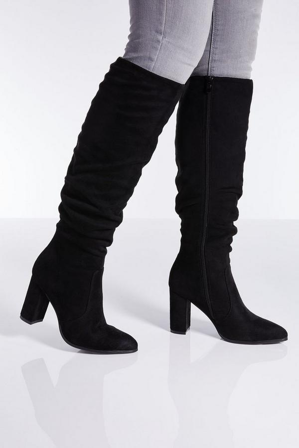 Black Ruched Block Heel Knee High Boots