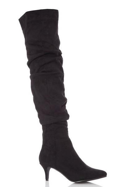 Black Faux Suede Knee High Heel Boots