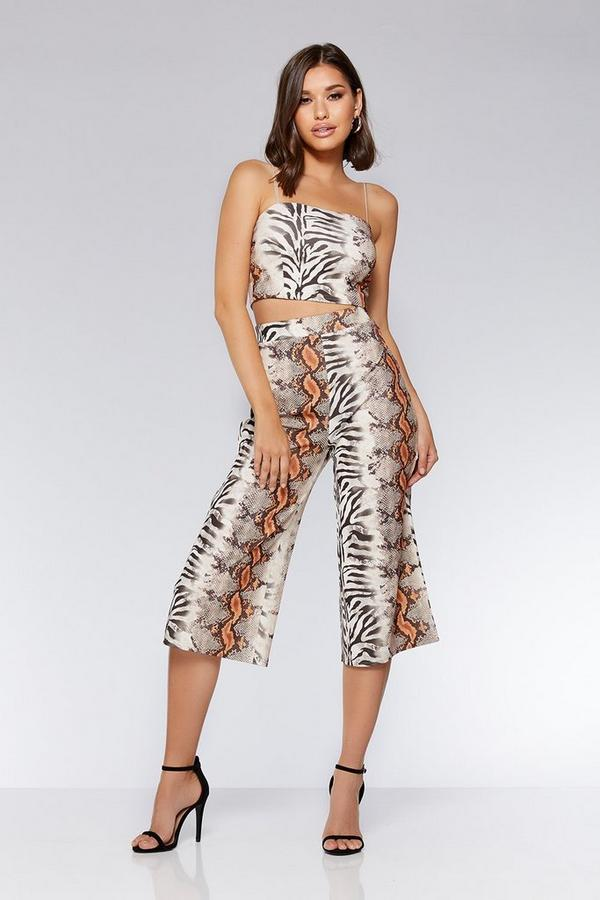 Brown And Orange Snake Print Culotte Trousers