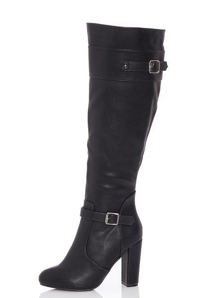 Black Buckle Strap Block Heel Knee High Boots
