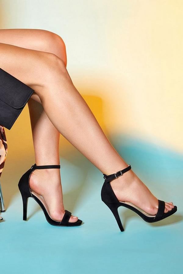 Black Barely There High Heel Sandals