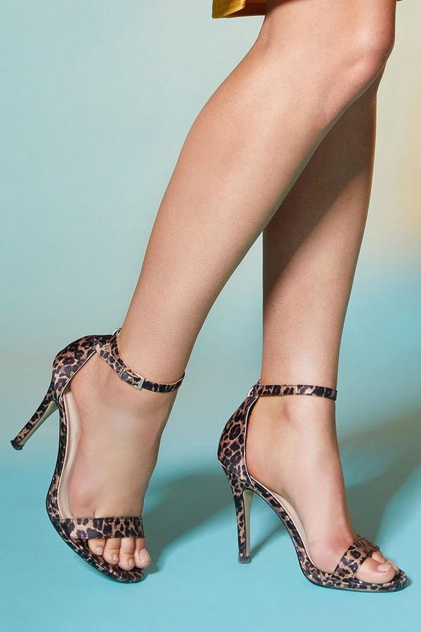 Leopard Print Satin Heels