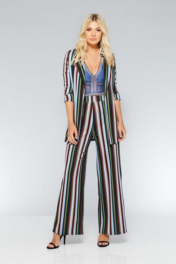 Black Green And Blue Stripe Palazzo Trousers
