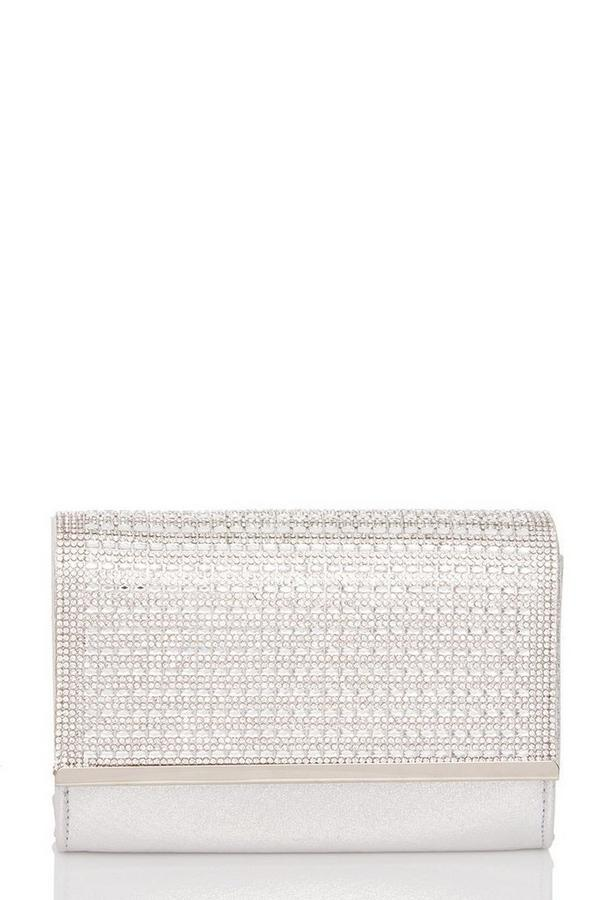 Silver Shimmer Diamante Bag