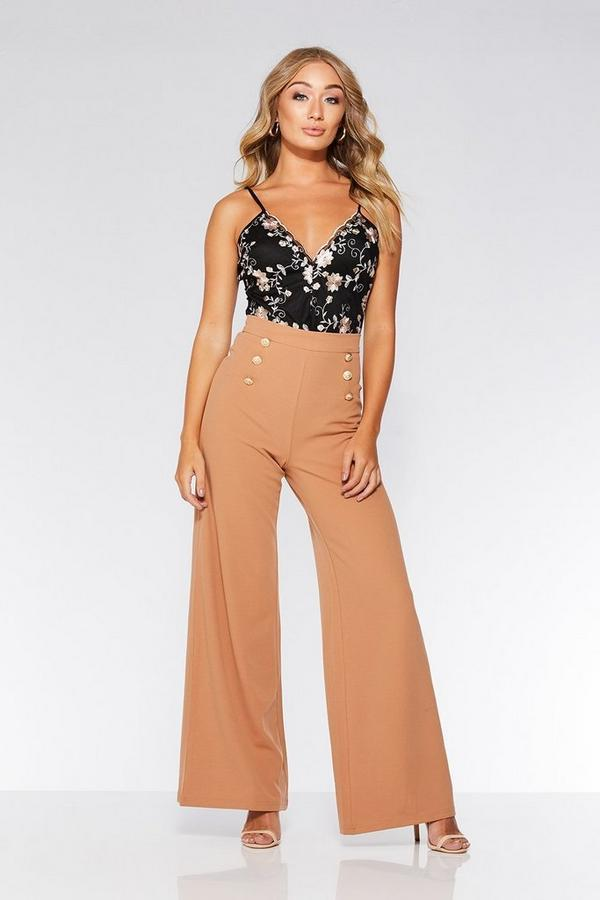 Nude Gold Button Palazzo Trousers