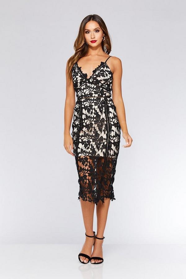 Black And Stone Crochet Strappy Midi Dress