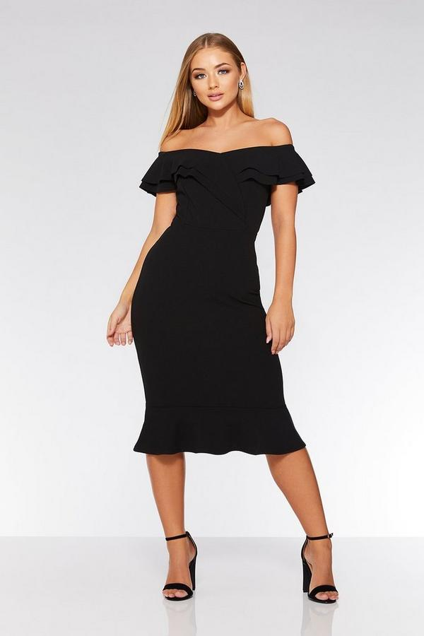 Black Bardot Double Frill Flare Dress