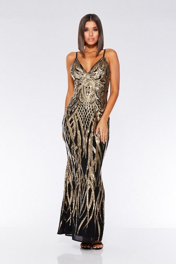 Black And Gold V Neck Fishtail Maxi Dress