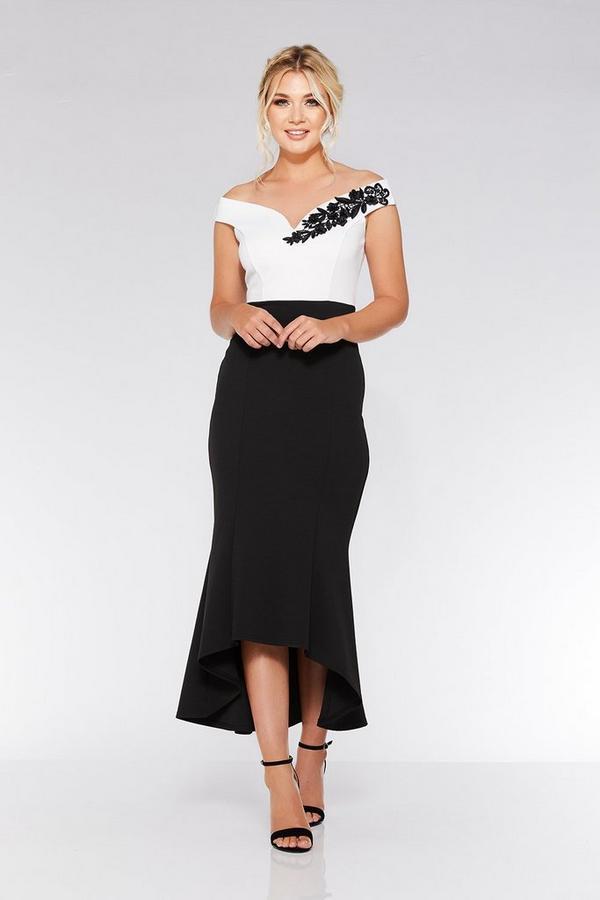 Black And Cream Bardot Dip Hem Dress