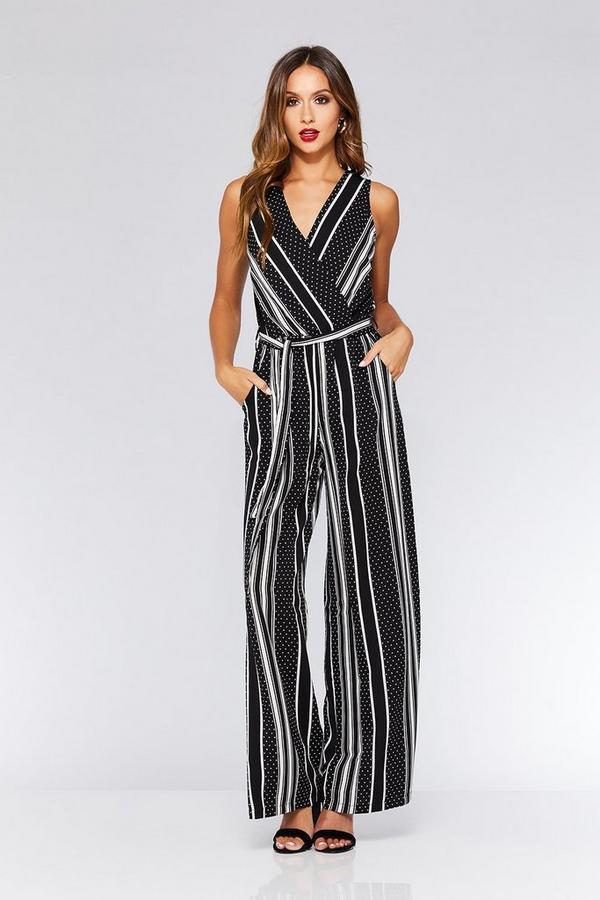 Black And Cream Stripe and Polkadot Jumpsuit