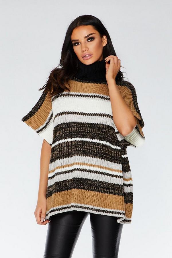 Camel Stripe Polo Neck Thick Knit Poncho
