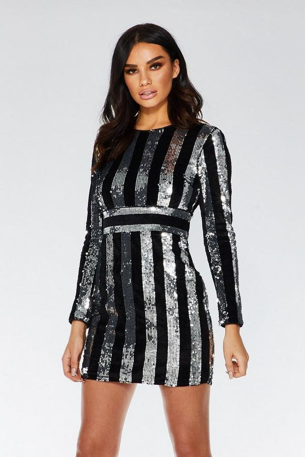 Black and Silver Sequin Bodycon Dress